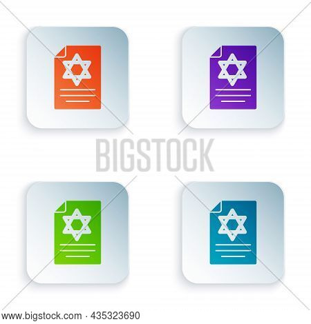 Color Torah Scroll Icon Isolated On White Background. Jewish Torah In Expanded Form. Star Of David S