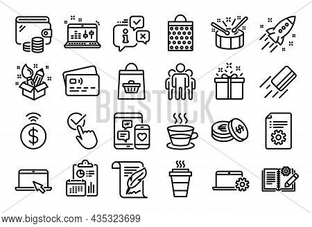 Vector Set Of Credit Card, Group And Creativity Line Icons Set. Calendar Report, Money Wallet And Cr
