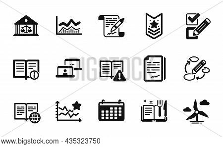 Vector Set Of Agreement Document, Document Signature And Recipe Book Icons Simple Set. Instruction M