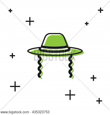Black Orthodox Jewish Hat With Sidelocks Icon Isolated On White Background. Jewish Men In The Tradit