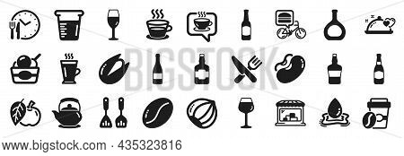 Set Of Food And Drink Icons, Such As Beer, Coffee Cup, Wineglass Icons. Takeaway Coffee, Bordeaux Gl
