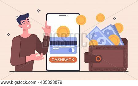 Online Payment Or Money Refund. Man Makes Purchases On Internet And Receives Cashback In His Wallet.