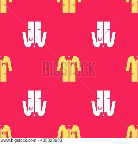 Yellow Laboratory Uniform Icon Isolated Seamless Pattern On Red Background. Gown For Pharmaceutical