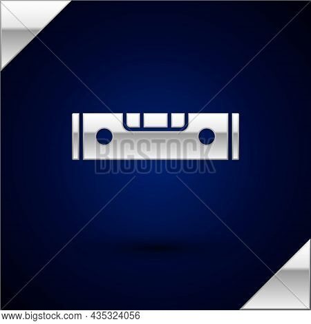 Silver Construction Bubble Level Icon Isolated On Dark Blue Background. Waterpas, Measuring Instrume