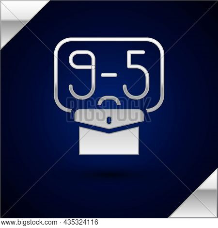 Silver From 9:00 To 5:00 Job Icon Isolated On Dark Blue Background. Concept Meaning Work Time Schedu