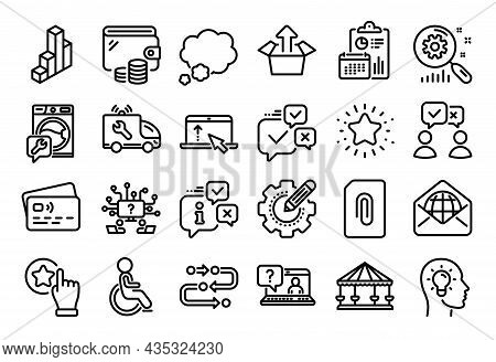 Vector Set Of Search Statistics, Swipe Up And Rate Button Line Icons Set. Calendar Report, Money Wal