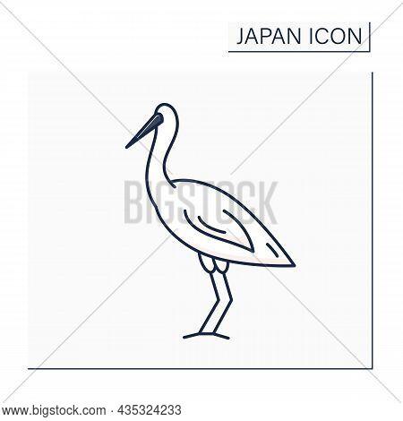 Crane Bird Color Icon. East Asian Crane. Luck, Longevity, And Fidelity Symbol. Traditional Japanese