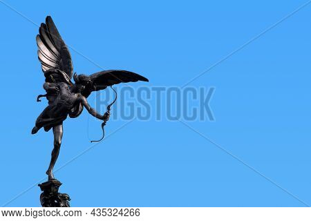 The Greek God Anteros On The Top Pf The Shaftesbury Memorial Fountain In Piccadilly Circus In London