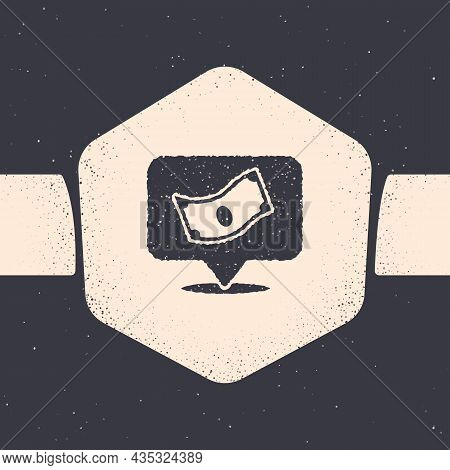 Grunge Stacks Paper Money Cash Icon Isolated On Grey Background. Money Banknotes Stacks. Bill Curren