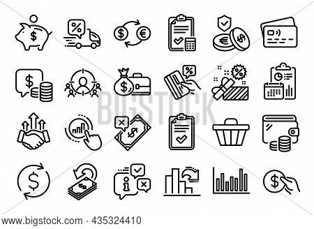 Vector Set Of Salary, Coins And Delivery Discount Line Icons Set. Calendar Report, Money Wallet And