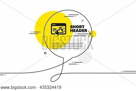 Seo Marketing Icon. Continuous Line Chat Bubble Banner. Web Targeting Sign. Traffic Management Symbo