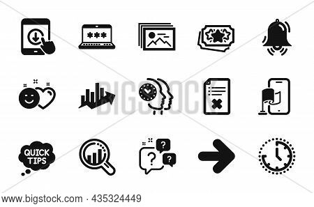 Vector Set Of Next, Time And Quick Tips Icons Simple Set. Clock Bell, Seo Analysis And Image Gallery