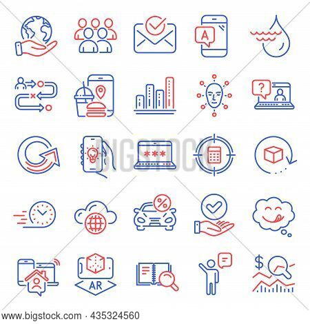 Technology Icons Set. Included Icon As Food App, Electric App, Return Package Signs. Hydroelectricit