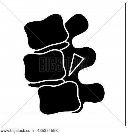 Fracture Dislocation Glyph Icon. Piece Of Bone Remains Jammed Between The Ends Of The Dislocated Bon
