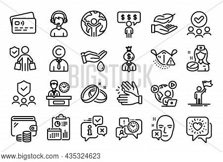 Vector Set Of Approved Group, Consultant And Friends Chat Line Icons Set. Calendar Report, Money Wal