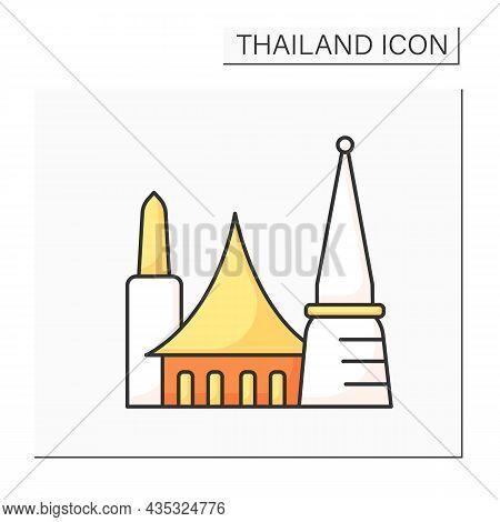 Bangkok Color Icon. Capital Of Thailand. Economy, Financial And Cultural Center. Traditional City Bu
