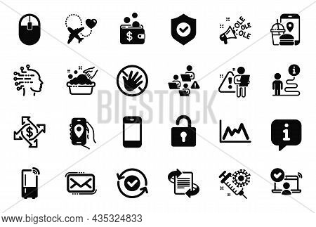 Vector Set Of Simple Icons Related To Do Not Touch, Smartphone And Computer Mouse Icons. Teamwork, P