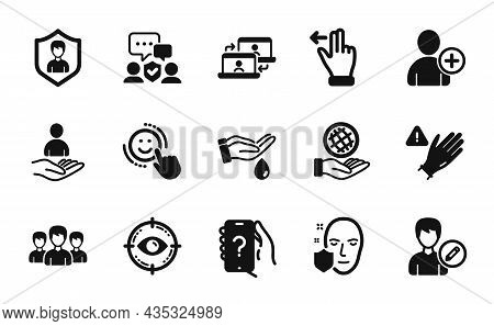 Vector Set Of Ask Question, Touchscreen Gesture And Safe Planet Icons Simple Set. Group, Security Ag