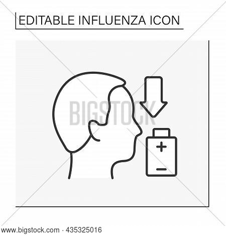 Sick Line Icon. Low Life Energy. Post-viral Syndrome. Man Feel Drained Of Energy And Unwell. Influen