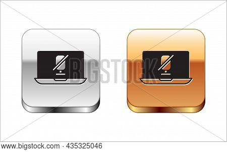 Black Mute Microphone On Laptop Icon Isolated On White Background. Microphone Audio Muted. Silver An