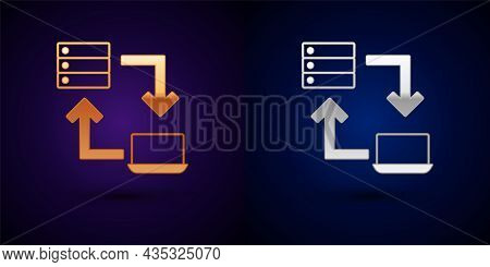 Gold And Silver Online Working Icon Isolated On Black Background. Freelancer Man Working On Laptop A