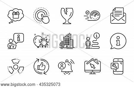 Business Icons Set. Included Icon As Chemical Hazard, User Notification, Gift Dream Signs. Buildings