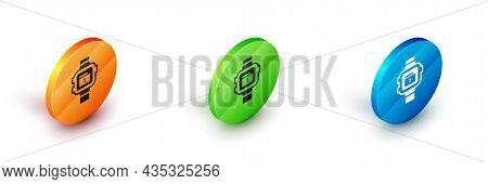 Isometric Wrist Watch Icon Isolated On White Background. Wristwatch Icon. Circle Button. Vector