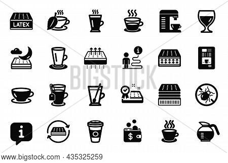 Vector Set Of Interiors Icons Related To Espresso, Flexible Mattress And Mint Tea Icons. Takeaway Co