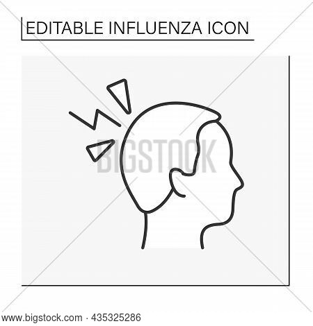 Headache Line Icon. Pain In Head. Disease Symptoms. Throbbing, Sharp Or Dull Pain. Headaches Due To