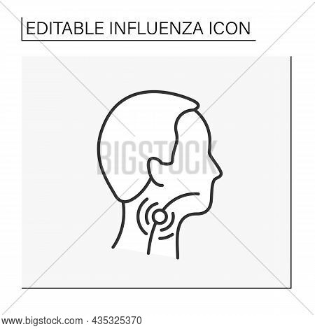Sore Throat Line Icon.viral And Bacterial Infections. Pain, Scratchiness Or Irritation Of Throat. In