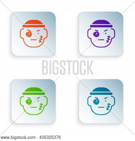 Color Bandit Icon Isolated On White Background. Set Colorful Icons In Square Buttons. Vector