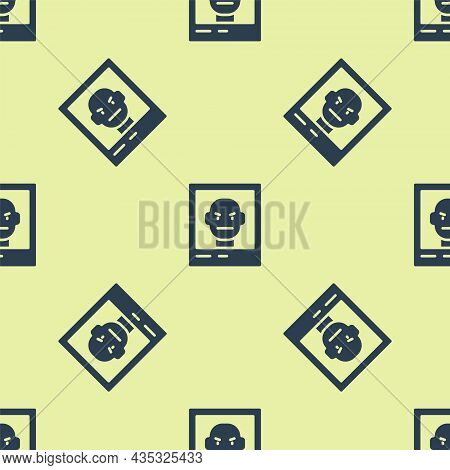 Blue Wanted Poster Icon Isolated Seamless Pattern On Yellow Background. Reward Money. Dead Or Alive