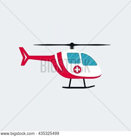 Ambulance Helicopter Cartoon Symbol On White Background. Medical Air Vehicle Vector Design.