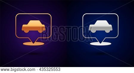 Gold And Silver Car Service Icon Isolated On Black Background. Auto Mechanic Service. Repair Service