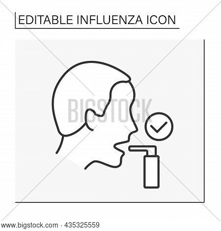 Treatment Line Icon. Inhaler For Treatment Of Shortness Of Breath. Asthma Treatment.healthcare. Infl