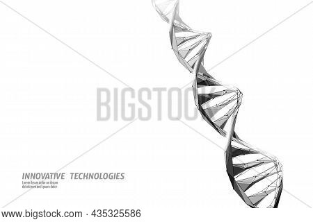 Dna 3d Chemical Molecule Structure Low Poly. Polygonal Triangle Point Line Healthy Cell Part. Micros
