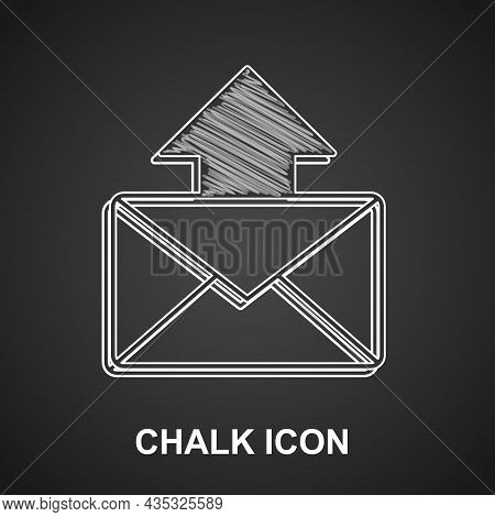 Chalk Mail And E-mail Icon Isolated On Black Background. Envelope Symbol E-mail. Email Message Sign.