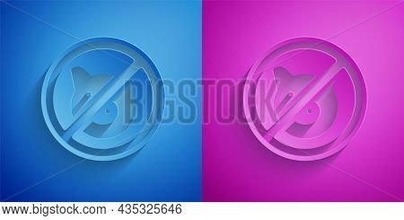 Paper Cut No Pig Icon Isolated On Blue And Purple Background. Stop Pork. Animal Symbol. Paper Art St
