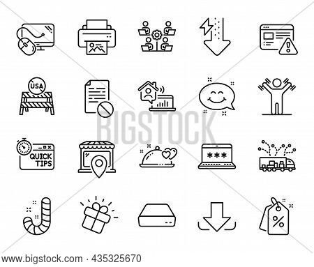 Vector Set Of Dumbbells Workout, Wrong File And Truck Delivery Line Icons Set. Discount Tags, Comput