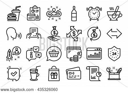 Vector Set Of Report, Income Money And Shopping Cart Line Icons Set. Calendar Report, Money Wallet A