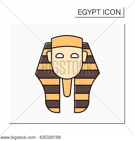 Pharaoh Color Icon. King Of Ancient Egypt Civilization. Royal Family. Uses Power Or Authority To Opp