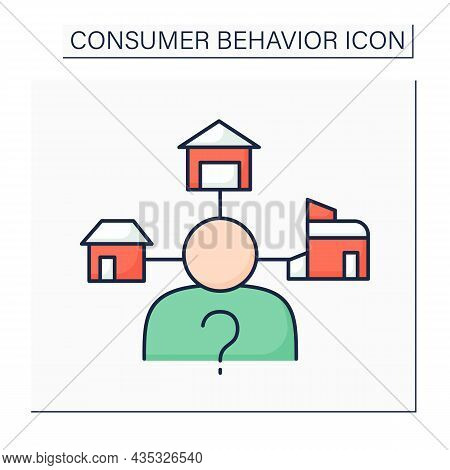 Extensive Decision-making Color Icon. Buying Decisions About Big Financial Investment. House Buying.