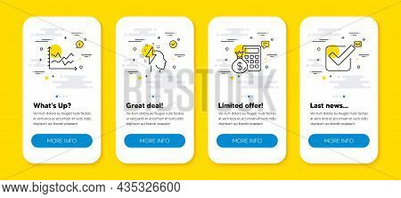Vector Set Of Finance Calculator, Brainstorming And Diagram Chart Line Icons Set. Ui Phone App Scree
