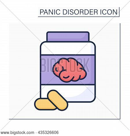 Benzodiazepines Color Icon.sedative Medication.slow Down The Body And Brain Functions.panic Disorder