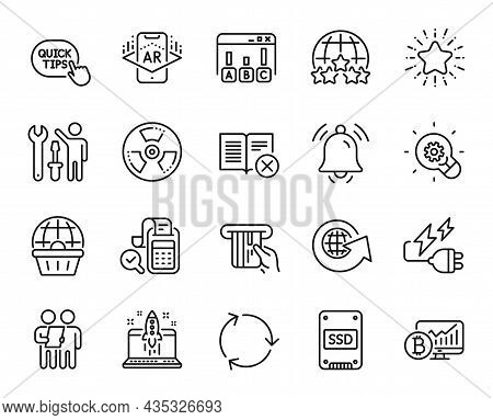 Vector Set Of Quick Tips, Star And Survey Line Icons Set. Bitcoin Chart, Notification Bell And Recyc