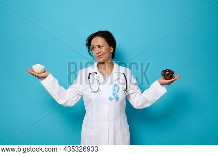 Pretty Female Doctor Wearing Blue Ribbon Holding A Bowl With Refined White Sugar In One Hand And Rip