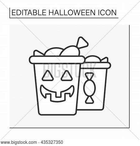 Trick Or Treating Line Icon. Children Go From Door To Door Asking For Sweets. Candies Boxes. Hallowe