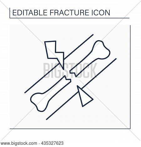 Avulsion Fracture Line Icon.bone Injury Near Tendon Or Ligament. Ligament Pulls Off A Piece Of Bone.