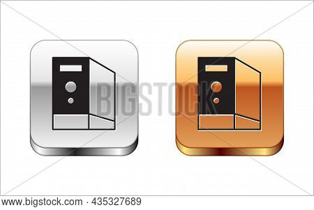 Black Case Of Computer Icon Isolated On White Background. Computer Server. Workstation. Silver And G