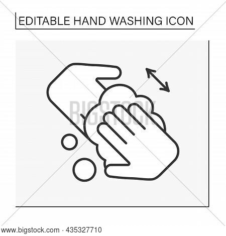 Regulations Line Icon. Rules Of Correct Hand Washing.rub Hands Together And Scrub Palms. Hygiena Con
